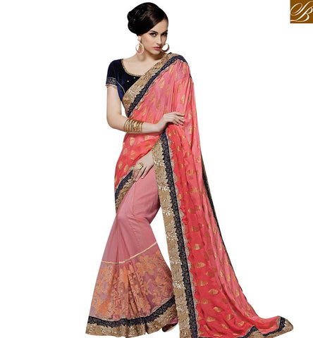STYLISH BAZAAR CHARMING PEACH AND ORANGE NET GEORGETTE PARTY WEAR DESIGNER SAREE MHMM4017