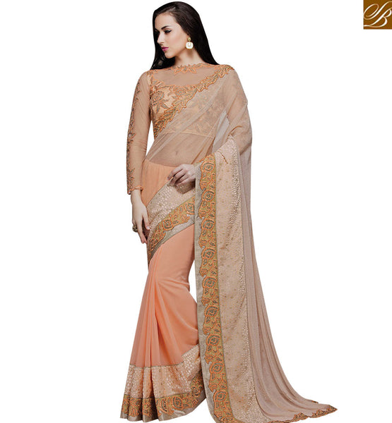 STYLISH BAZAAR SPLENDID PEACH AND PINK DESIGNER PARTY WEAR SAREE AND BLOUSE MHMM4018