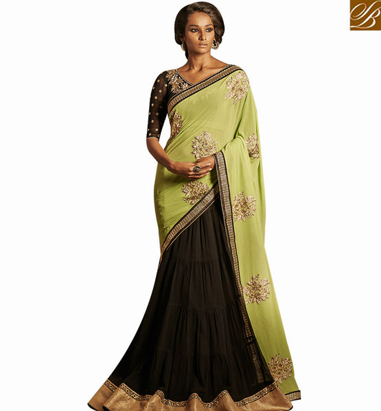 STYLISH BAZAAR STUNNING BLACK GEORGETTE DESIGNER SAREE WITH SPARKLING COMBINATION OF PALLU WITH BLACK DHUPION BLOUSE NKBRC4018