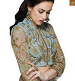 BROUGHT TO YOU BY STYLISH BAZAAR ALLURING BEMBERG GEORGETTE HAS GREAT SKY BLUE AND LEAF HEAVY EMBROIDERY WORK MHMM4019