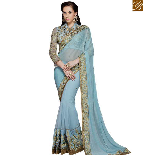 STYLISH BAZAAR ALLURING BEMBERG GEORGETTE HAS GREAT SKY BLUE AND LEAF HEAVY EMBROIDERY WORK MHMM4019