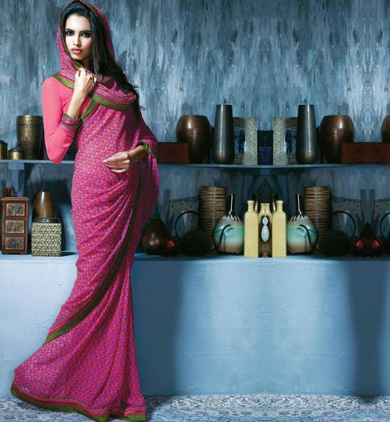 PINK PRINTED CASUAL WEAR SAREE