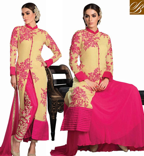 PARTY WEAR SALWAR SUIT OR WEDDING LEHENGA CHOLI BEIGE EMBROIDERED LONG KAMEEZ THAT CAN BE WORN WITH A SALWAR OR LEHENGA