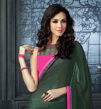 SURAT MANUFACTURED HIGH QUALITY CASUAL WEAR SAREE GORGEOUS GREEN AND PINK GEORGETTE SARI WITH MATCHING ART-SILK JACKET