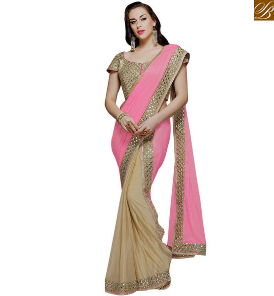 STYLISH BAZAAR RAVISHING BEMBERG GEORGETTE NET DESIGNER PLAIN SAREE WITH LACE BORDER MHMM4020