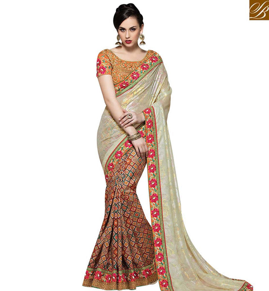 STYLISH BAZAAR LUXURIOUS MULTI COLOUR DESIGNER PRINTED SAREE WITH HEAVY EMBROIDERED BLOUSE MHMM4021