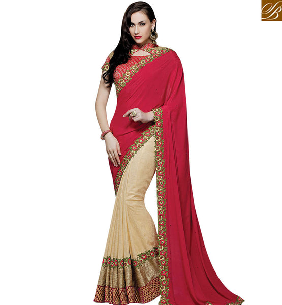 STYLISH BAZAAR PROMISING CREAM AND RED CREPE SILK HAS FLOWERY LACE BORDER WORK WITH MHMM4022