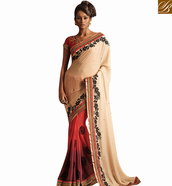 STYLISH BAZAAR BEAUTIFULL RED SHADED DESIGNER SAREE WITH BLACK THREAD WORK WITH BEIGE COLOR PALLU NKBRC4023
