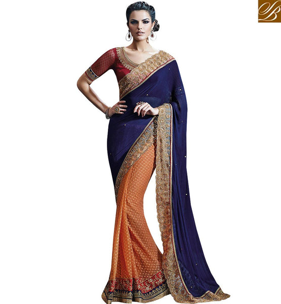 STYLISH BAZAAR SPARKLING BLUE & ORANGE HALF AND HALF SAREE WITH GLITTERING BORDER WORK NKFM4029