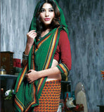GREEN & YELLOW PRINTED SAREE RTKAL402A