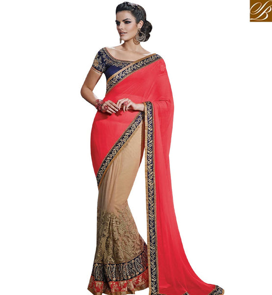STYLISH BAZAAR STARING PINK & BEIGE COLORED HALF AND HALF CHIFFON SAREE NKFM4030