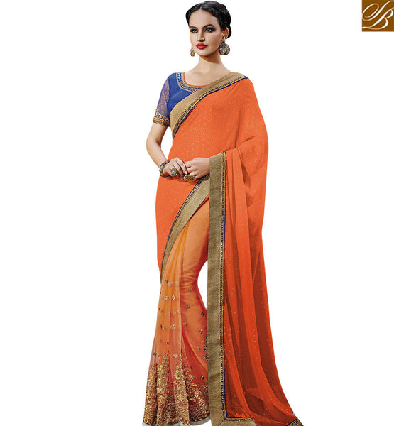 STYLISH BAZAAR SNAZZY ORANGE COLORED GEORGETTE SAREE NKFM4031