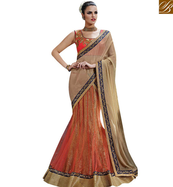 STYLISH BAZAAR FABULOUS ORANGE AND BEIGE COLORED DESIGNER SAREE NKFM4032