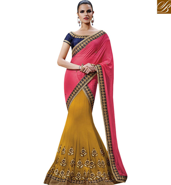 STYLISH BAZAAR RAVISHING PINK & YELLOW COLORED HALF AND HALF SAREE NKFM4033