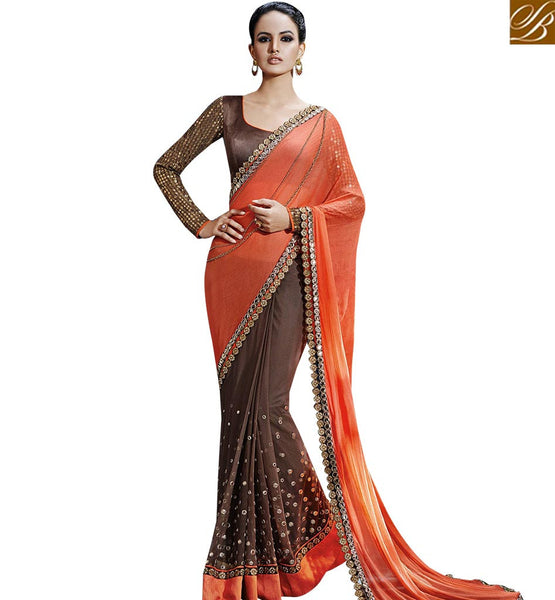 STYLISH BAZAAR BRILLIANT ORANGE COLORED DESIGNER SAREE WITH EYE CATCHING BORDER WORK NKFM4034
