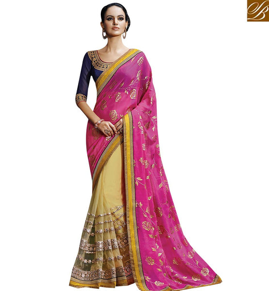STYLISH BAZAAR DESIGNERS BEAUTIFUL PINK AND BEIGE COLORED HALF AND HALF SAREE NKFM4036