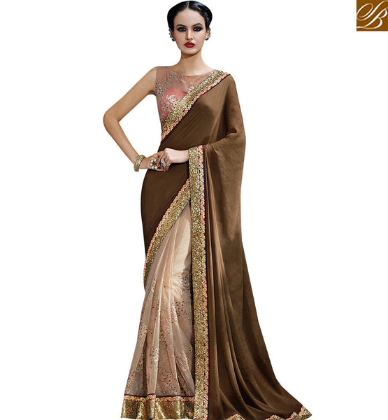 STYLISH BAZAAR EXTRAORDINARY BROWN COLORED SAREE WITH NICE LOOKING BORDER WORK NKFM4037