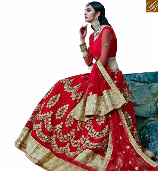 STYLISH BAZAAR ELEGANT MAROON NET DESIGNER LEHENGA CHOLI WITH THREAD WORK & LACE BORDER WORK ON DUPATTA SLGAJ403A
