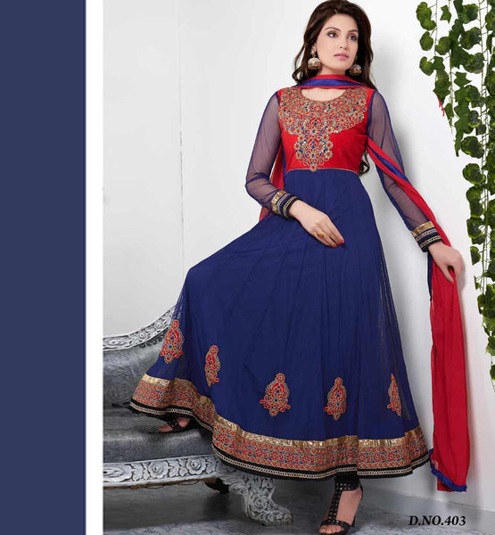 BLUE DESIGNER ANARKALI DRESS VDTVA403