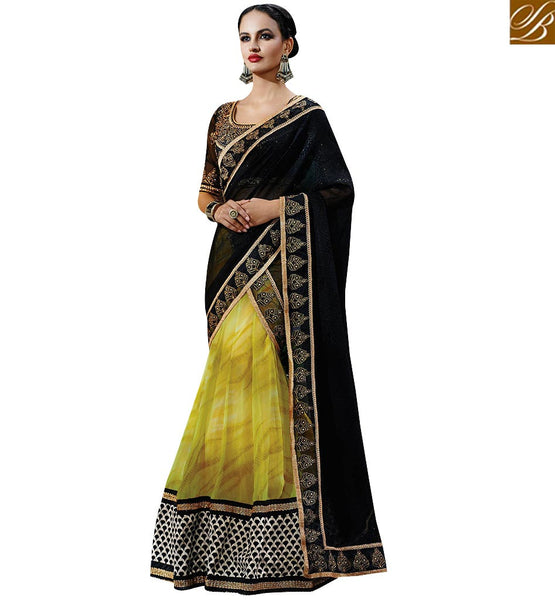 STYLISH BAZAAR OBSERVEABLE BLACK AND YELLOW COLORED DESIGNER SAREE NKFM4040