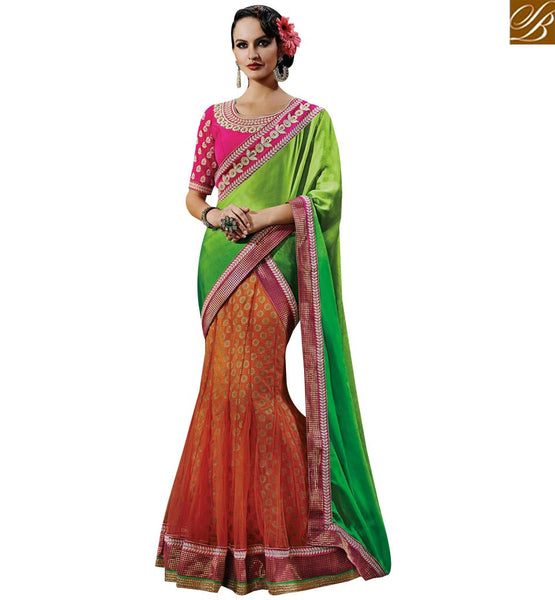 STYLISH BAZAAR STYLISH MULTICOLOR HALF AND HALF DESIGNER SAREE NKFM4043