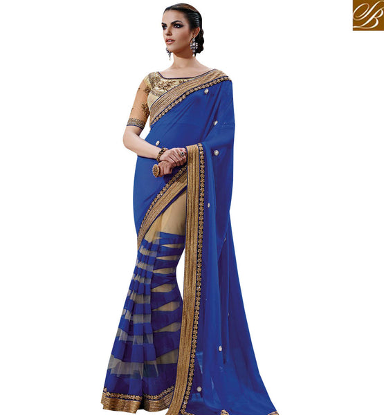 STYLISH BAZAAR CHARISMATIC BLUE COLORED CLASSIC DESIGNER PARTY WEAR SAREE NKFM4044