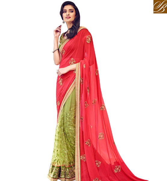 STYLISH BAZAAR GOOD LOOKING RED & OLIVE COLORED DESIGNER SAREE NKITA4047