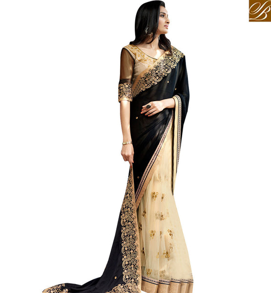 STYLISH BAZAAR STRIKING BLACK COLORED SAREE WITH GLITTERING BORDER WORK NKITA4048