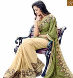 STYLISH BAZAAR PRESENTS BEAUTIFUL BEIGE & OLIVE COLORED DESIGNER SAREE NKITA4049