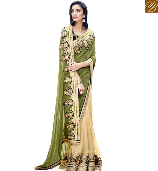 STYLISH BAZAAR BEAUTIFUL BEIGE & OLIVE COLORED DESIGNER SAREE NKITA4049