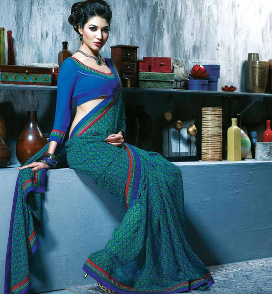 BLUE & GREEN PRINTED SAREE RTKAL404A