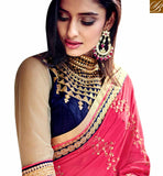 STYLISH BAZAAR INTRODUCES GORGEOUS PINK & BEIGE COLORED HALF AND HALF SAREE NKITA4050