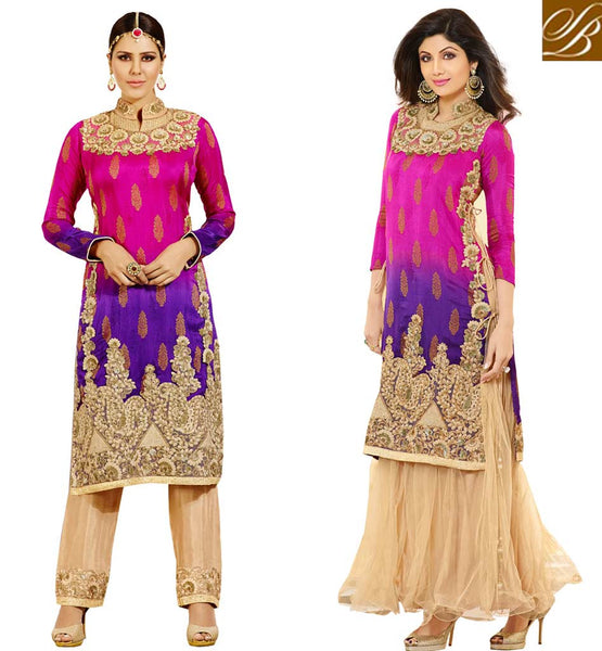 ELEGANT EMBROIDERED SHALWAR KAMEEZ DESIGN 2015 PUNJABI SALWAR KAMEEZ COLOUR COMBINATIONS WITH GEORGETTE EMBROIDERED TOP