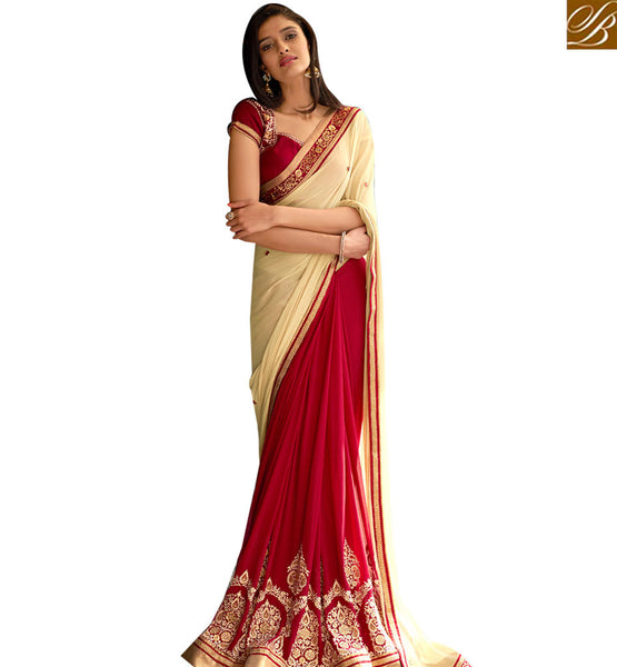 STYLISH BAZAAR EYE CATCHING RED & BEIGE COLORED HALF AND HALF SAREE NKITA4051
