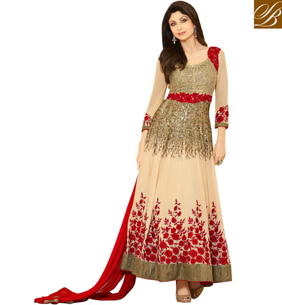 CELEBRITY STYLE HEAVY EMBROIDERED ANARKALI SUITS ONLINE BOLLYWOOD ACTRESS SHILPA'S NEW FASHION SALWAR WITH YOKE & SLEEVES