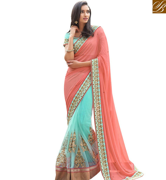 STYLISH BAZAAR DAZZLING PEACH COLORED HALF AND HALF GEORGETTE SAREE NKITA4053