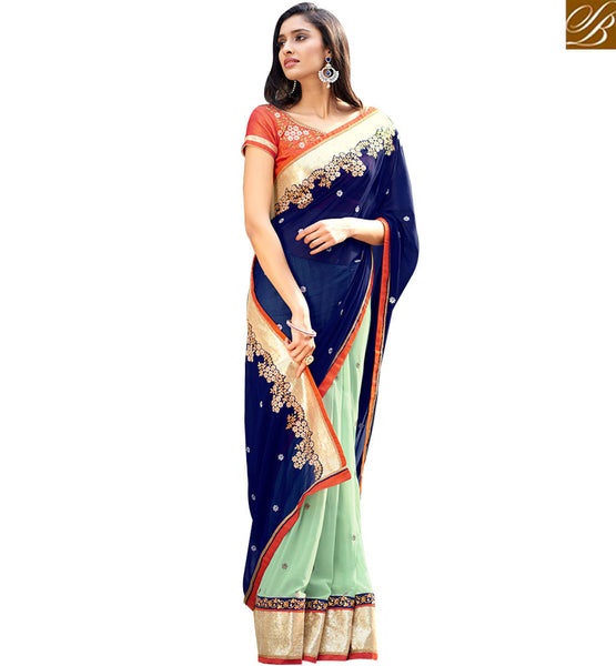STYLISH BAZAAR EXQUISITE MULTICOLORED HALF AND HALF SAREE WITH GLITTERY BORDER WORK NKITA4054