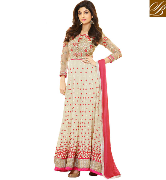 SHILPA SHETTY'S STYLISH FLOOR LONG ANARKALI SUITS DESIGNER SALWAR KAMEEZ PATTERNS COMES WITH STONE WORK DUPATTA