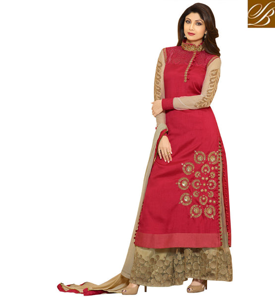 CELEBRITY STYLE FASHION APPAREL MAROON SALWAR SUIT TOP FASHION DESIGNER IN INDIA HAVE DESIGNED THIS DRESS