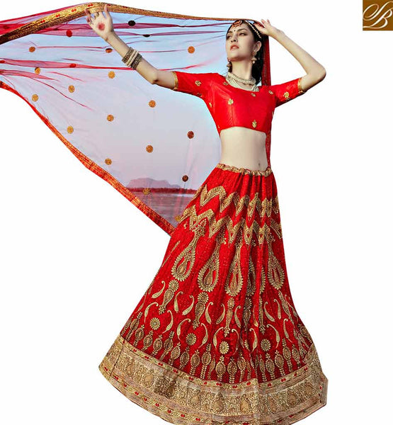STYLISH BAZAAR APPEALING MAROON NET EMBROIDERED LEHENGA CHOLI WITH STONE WORK SLGAJ405A