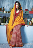 INDIAN ONLINE SHOPPPING WEBSITE YELLOW & MAROON CASUAL SAREE RTKAL405B