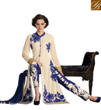 LONG SHERWANI STYLE TOP TO PAIR WITH EITHER A SALWAR AND A LEHENGA STUNNING OFF-WHITE GEORGETTE LONG KAMEEZ WITH BLUE SANTOON SALWAR AND NET LEHENGA AND CHIFFON ODHNI