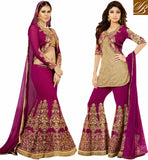 NEW EMBROIDERED JACKET STYLE SALWAR SUIT DESIGNS STYLISH GEORGETTE NET TOP DRESS COMES WITH RAW SILK SHORT KOTI