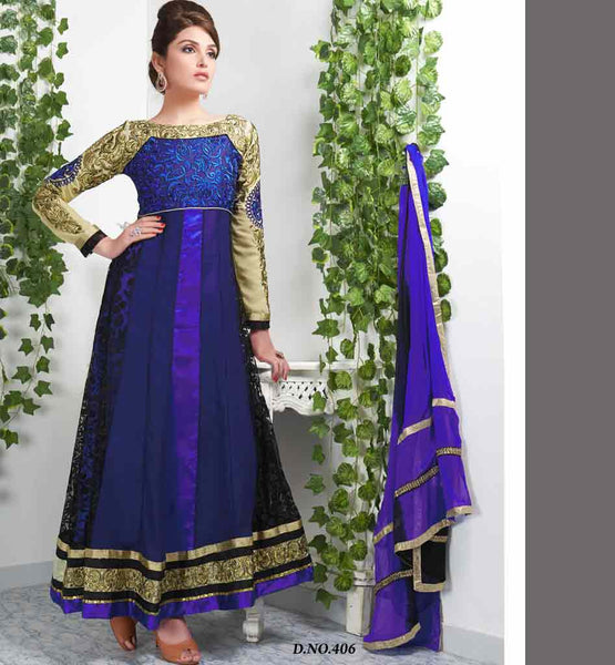 PRETTY BLUE ANARKALI DRESS VDTVA406