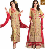 UNIQUE DRESS PATTERN SALWAR SUIT & LENGHA COMBO ROCK THE PARTY WEARING SUPERB BEIGE GEORGETTE  PARTY WEAR SALWAR SUIT