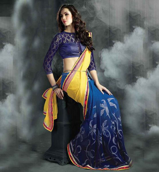 BUY LATEST DESIGNER SAREES WITH FANCY BLOUSE IRRESISTIBLE YELLOW AND BLUE COMBINATION SAREE TO WEAR AT WORKPLACE