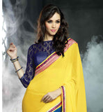 IRRESISTIBLE YELLOW AND BLUE COMBINATION SAREE TO WEAR AT WORKPLACE ELEGANT GEORGETTE SARI WITH ART-SILK AND NET BRASSO CHOLI