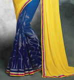 ELEGANT GEORGETTE SARI WITH ART-SILK AND NET BRASSO CHOLI BUY LATEST DESIGNER SAREES WITH FANCY BLOUSE