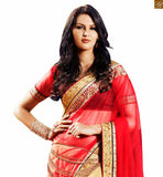 PINK AND CREAM COLOURED EMBROIDERED SAREE TEAMED WITH A BROWN BLOUSE ANOB41