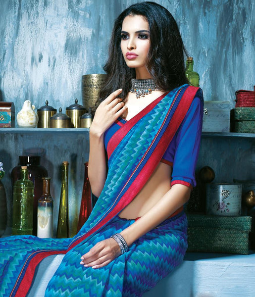 INDIAN ONLINE SHOPPPING WEBSITE BLUE PRINTED CASUAL SAREE RTKAL410B